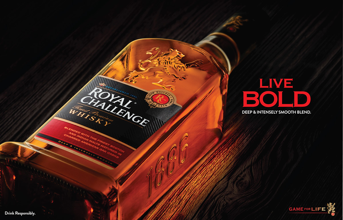 Royal Challenge RC Whiskey Whisky alcohol beverage scotland barrel Cherred American Oak Oak Cask new bottle refraction ice drink responsibly
