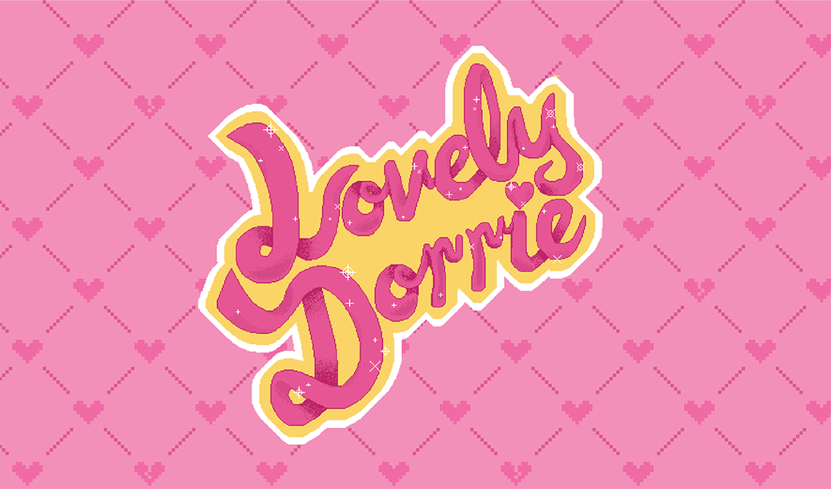 pink script logo on yellow and white on pink heart pattern background