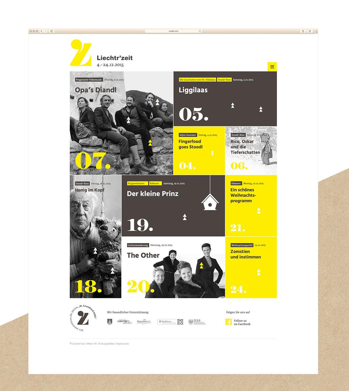 Weihnachten Screendesign veranstaltungen kalender Webdesign Veranstaltungskalender  Grafikdesign Responsive Webseite