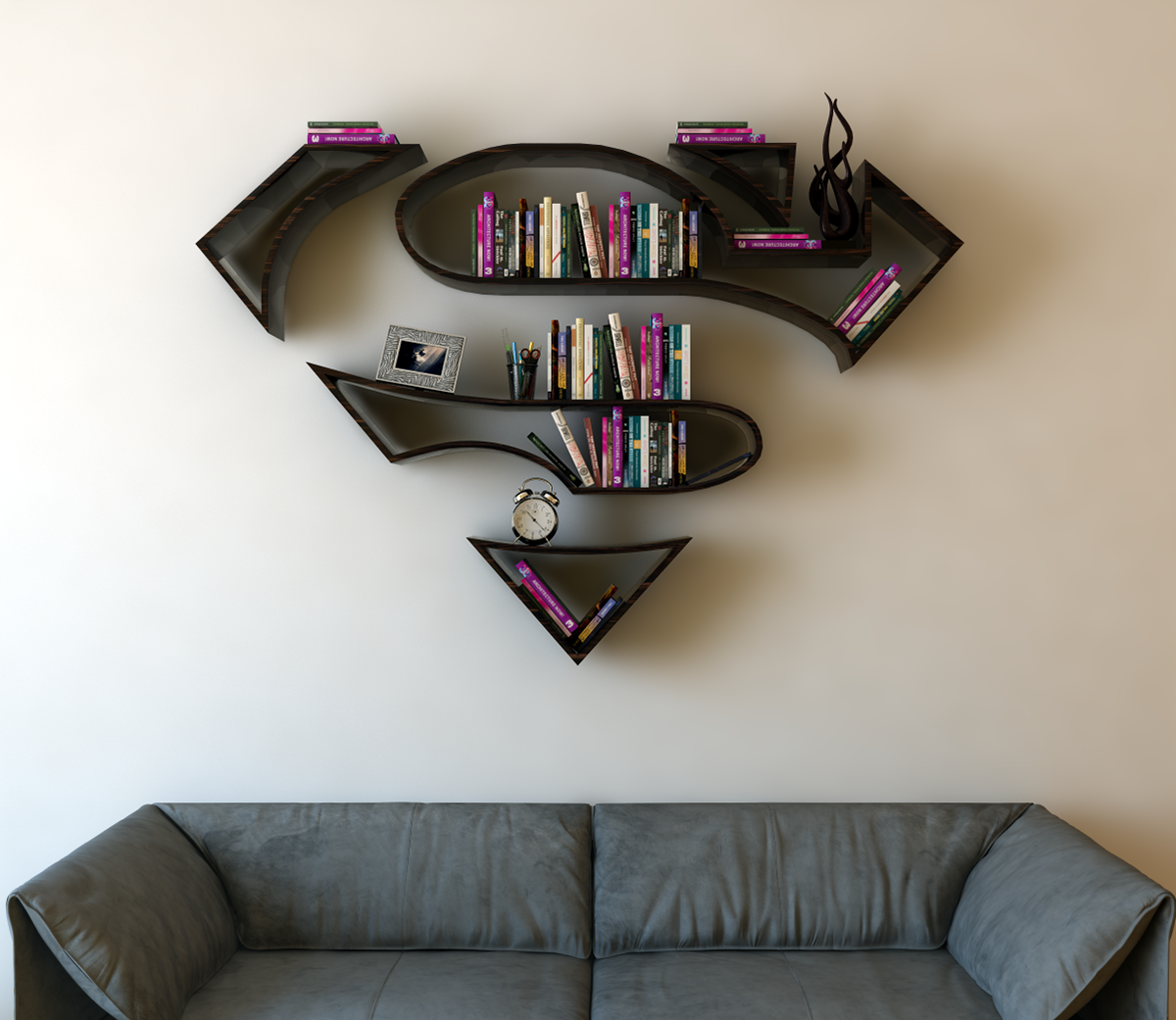 Superman Logo Shelf Interrior Design Bookshelf On Behance