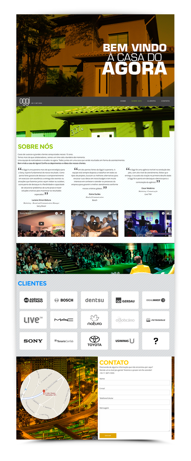 Site (landing page) - Oggi Eventos