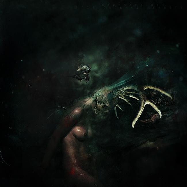 surreal surrealism dark artistic nude woman female skull bird forest woods