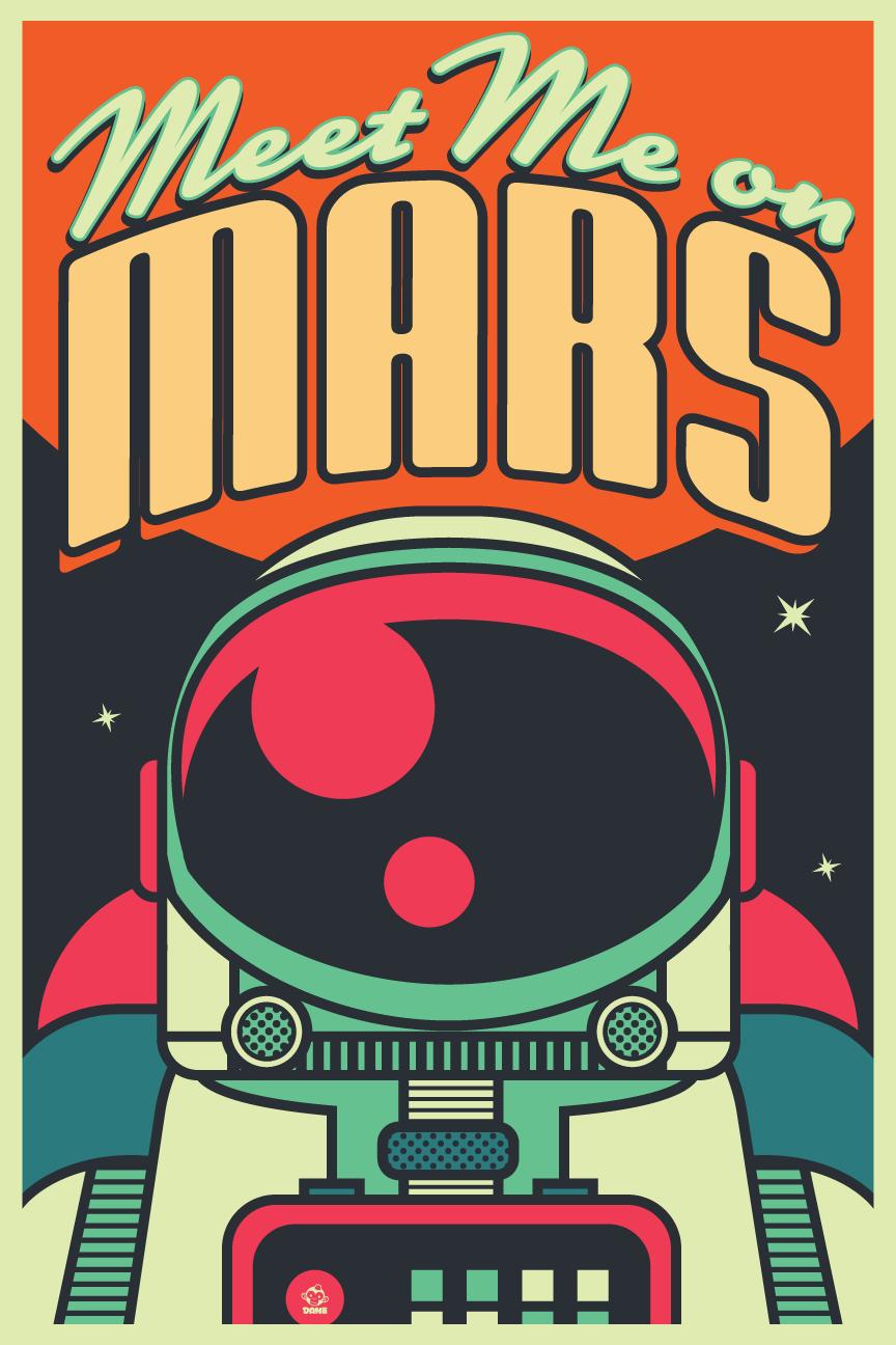 Meet Me On Mars Retrofuturistic Space Exploration Art on Behance