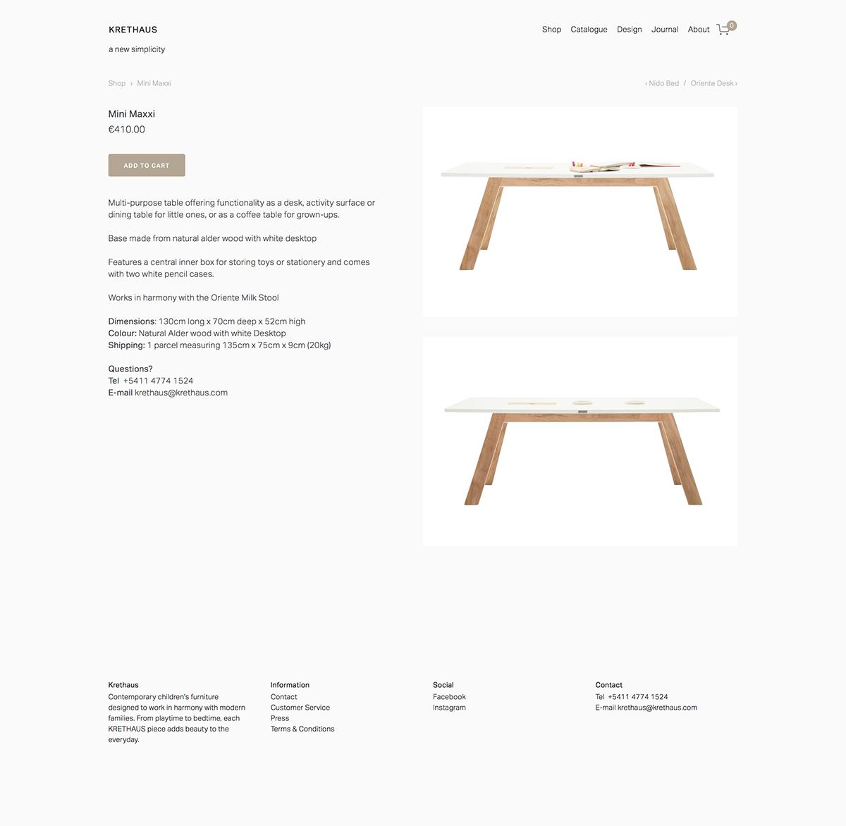 squarespace Krethaus grid Ecommerce childrens furniture argentina The Printer's Son