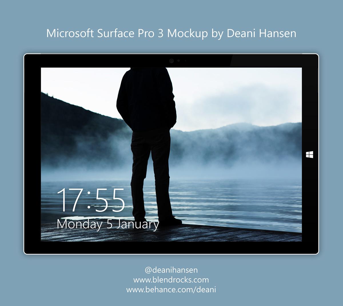 Microsoft surface surface pro surface pro 3 Windows 8 windows 10 Mockup device
