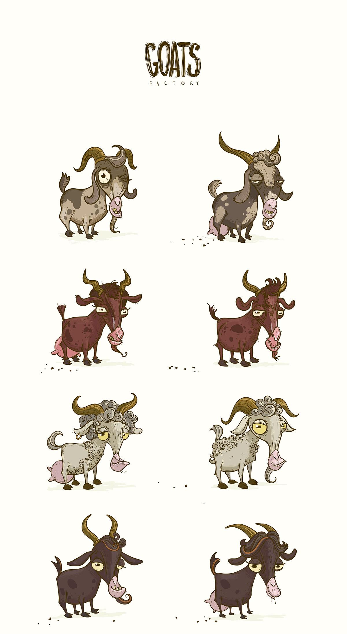 goats vector characters gamedev visart gameart animals udders horns