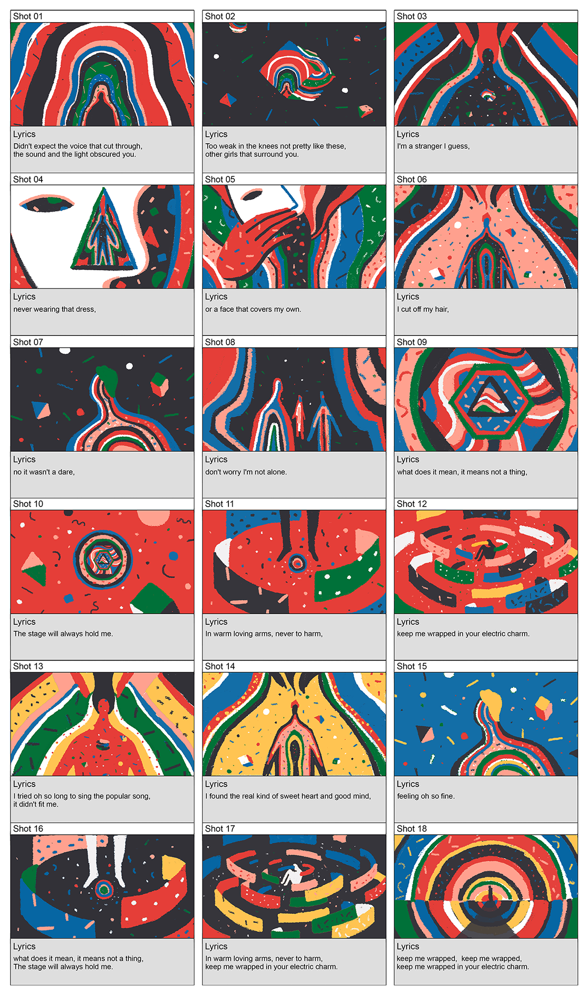 musicvideo pattern texture colours animation  Character storyboard life geometry gif