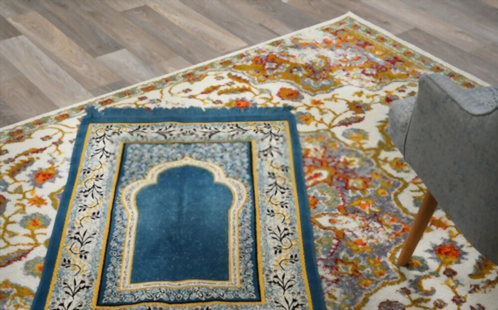 beautiful blue prayer mat