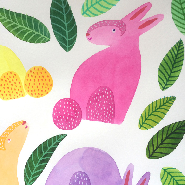 Easter bunnies Flowers Tullips spring Nature cute sweet colorful illustratie tekening paper cut out rabbit bunny