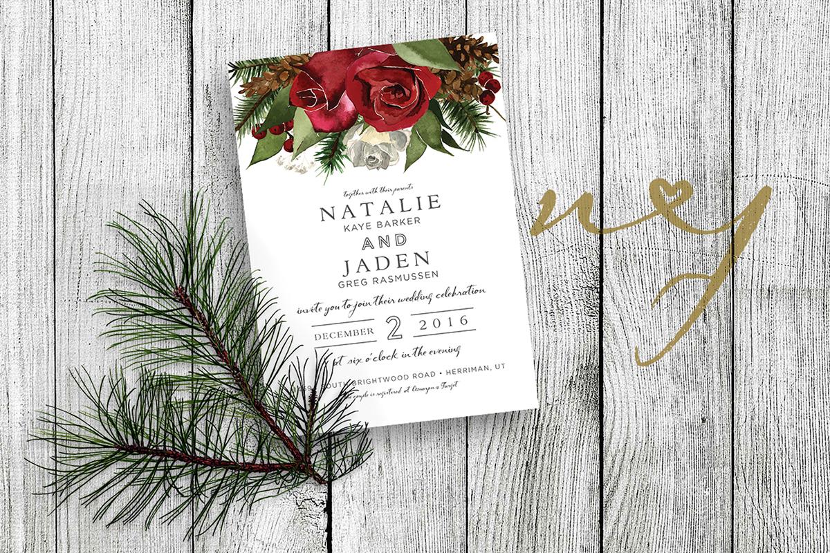 wedding invites invitations Roses greenery watercolor ILLUSTRATION  gold pine rustic