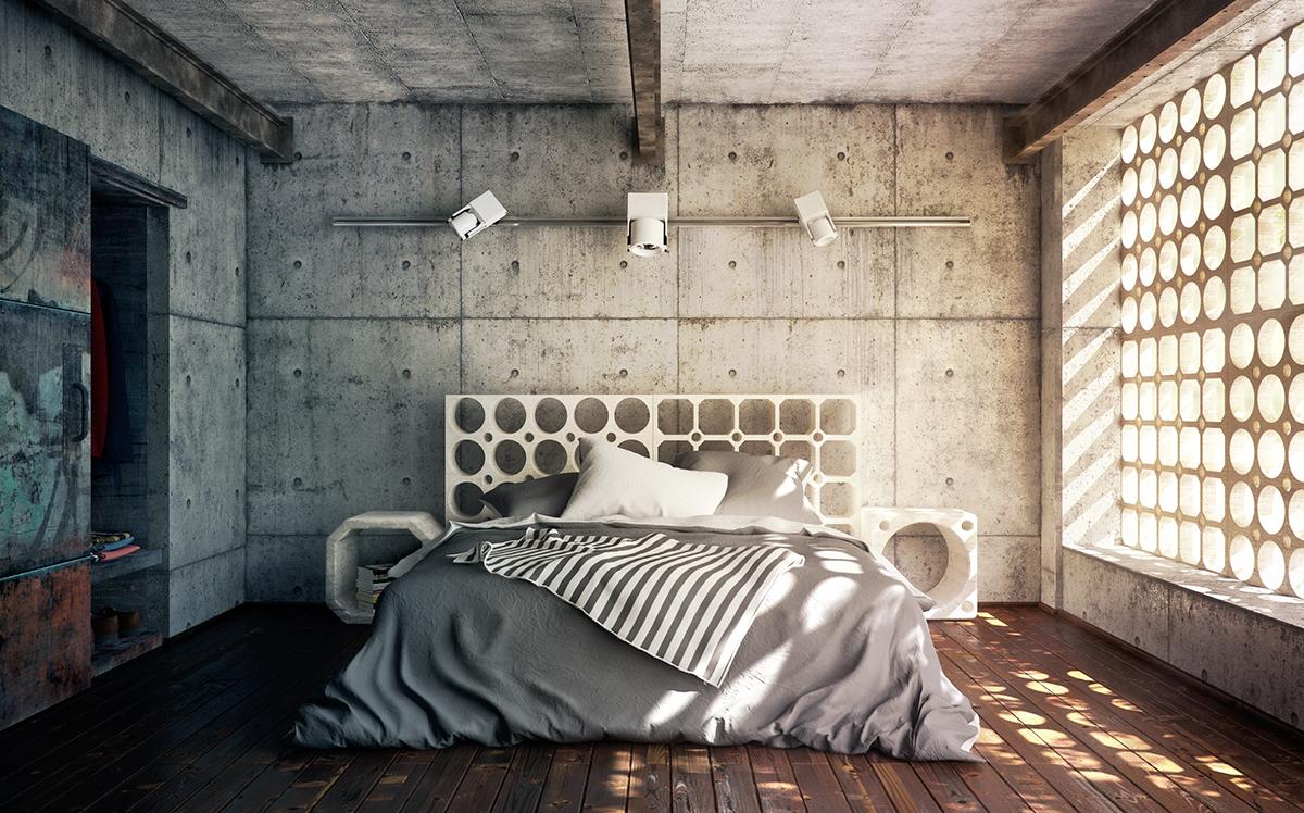 industrial bedroom vray Vrayforc4d c4d cinema4d Interior modern contemporary bed concrete light