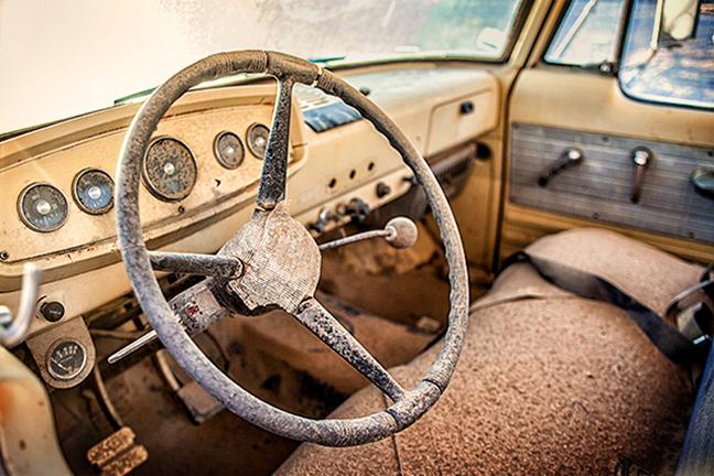 California desert auto graveyard sunset trona yellow truck dodge pickup