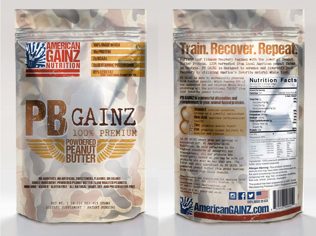 product packaging american patriotic American GAINZ Crossfit Protein Powder