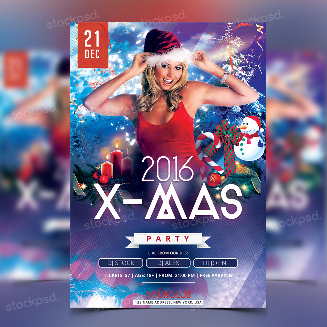 2016 x mas party psd flyer on behance psd flyer for christmas party or new year 2016 psd file to for here