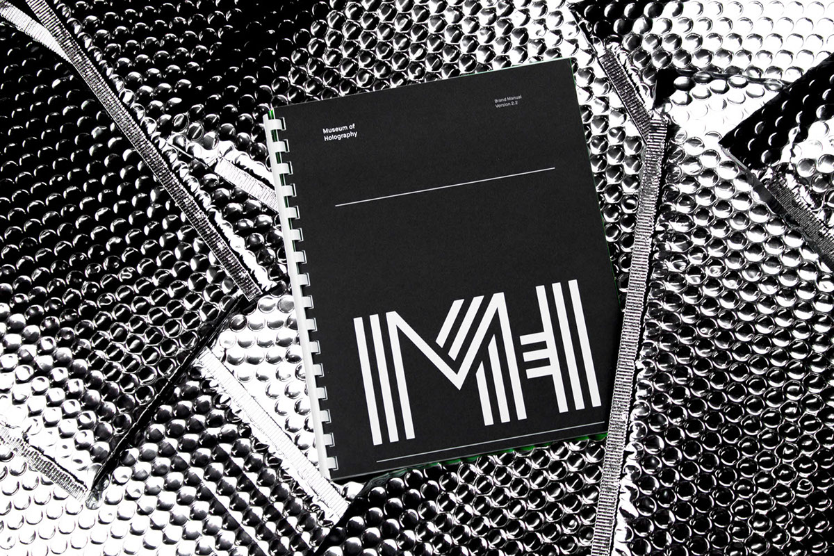 brand identity manual Style Guide hologram holography Exhibition  museum institution wayfinding Signage design contemporary minimal