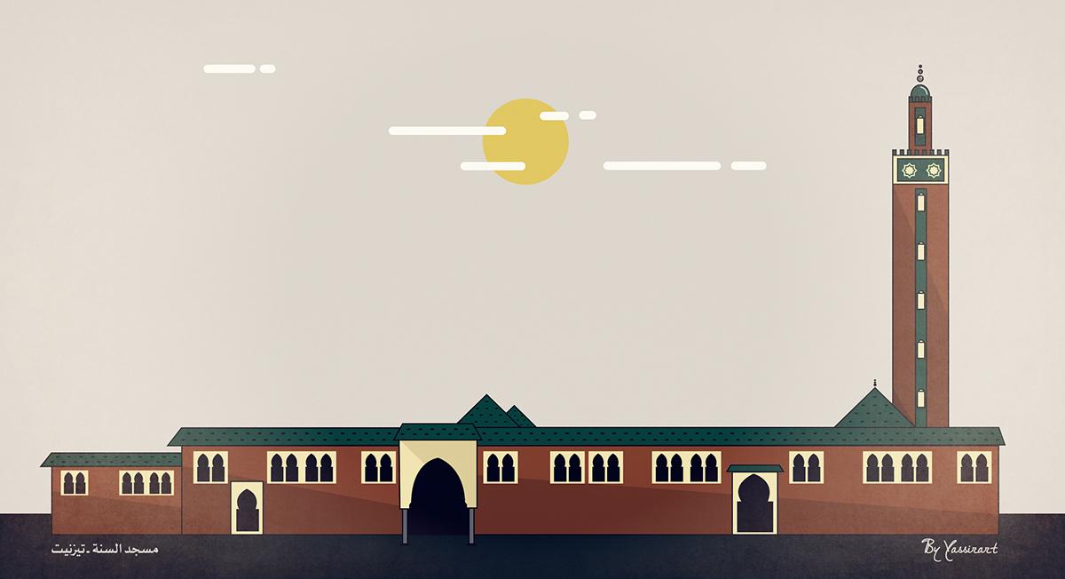 Tiznit art line photoshop line art yassirart hicham khoufaify mosque  islam islamic مسجد السنة ـ تيزنيت Mosquée Assonna