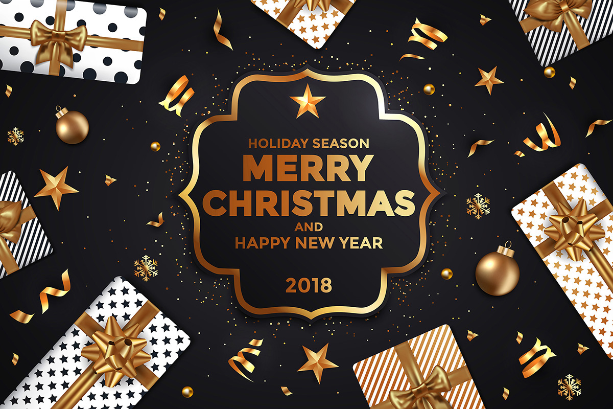 stylish modern merry christmas and happy new year cards on