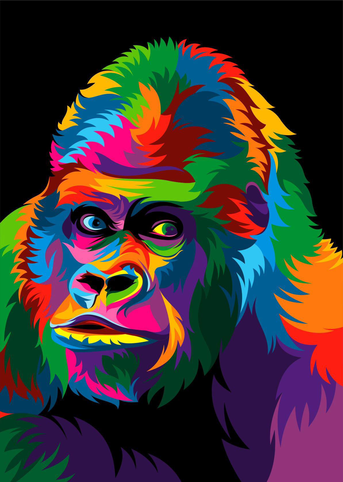colorful animal vector illustration animals pop paintings behance artwork drawings abstract rainbow illustrations arte scrolling thanks 5d