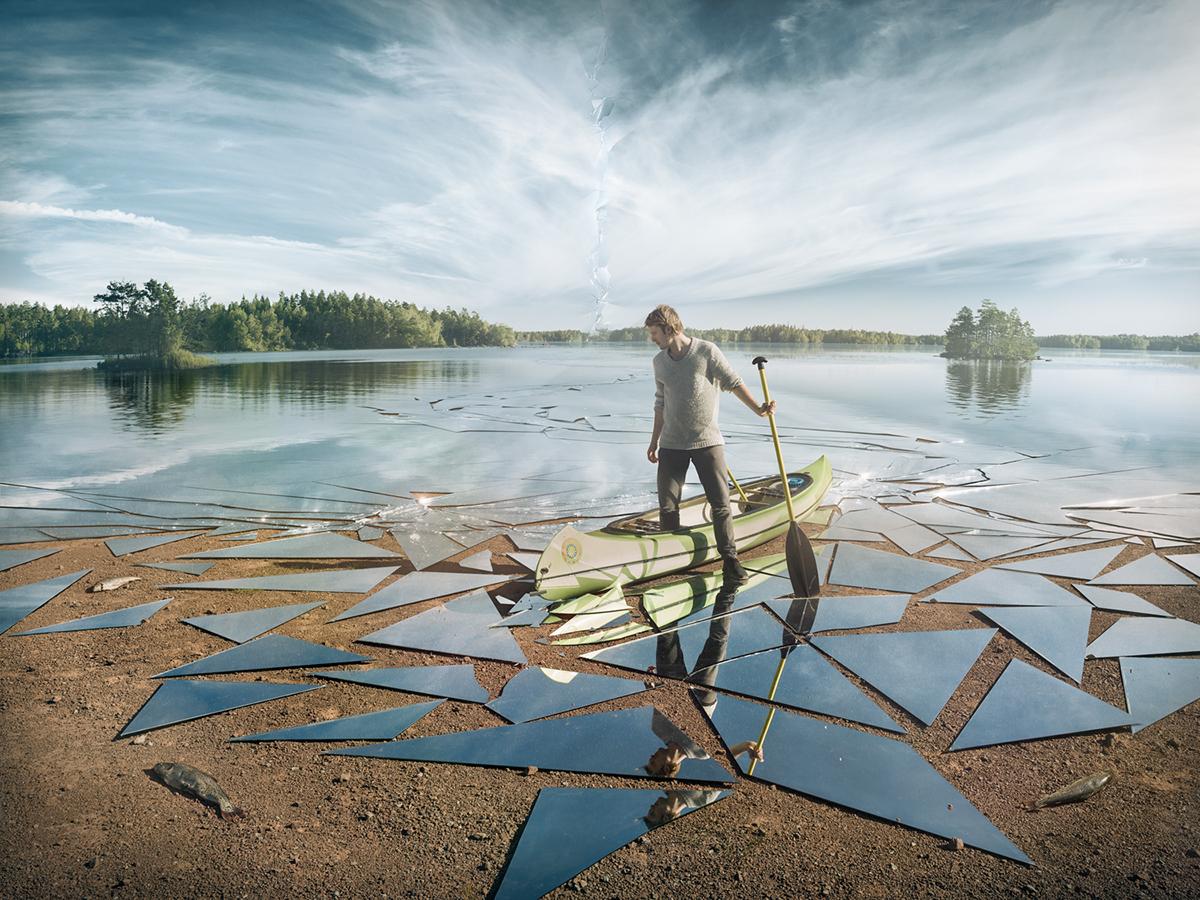 impact surreal mirrors breaking Sweden olof boat lake
