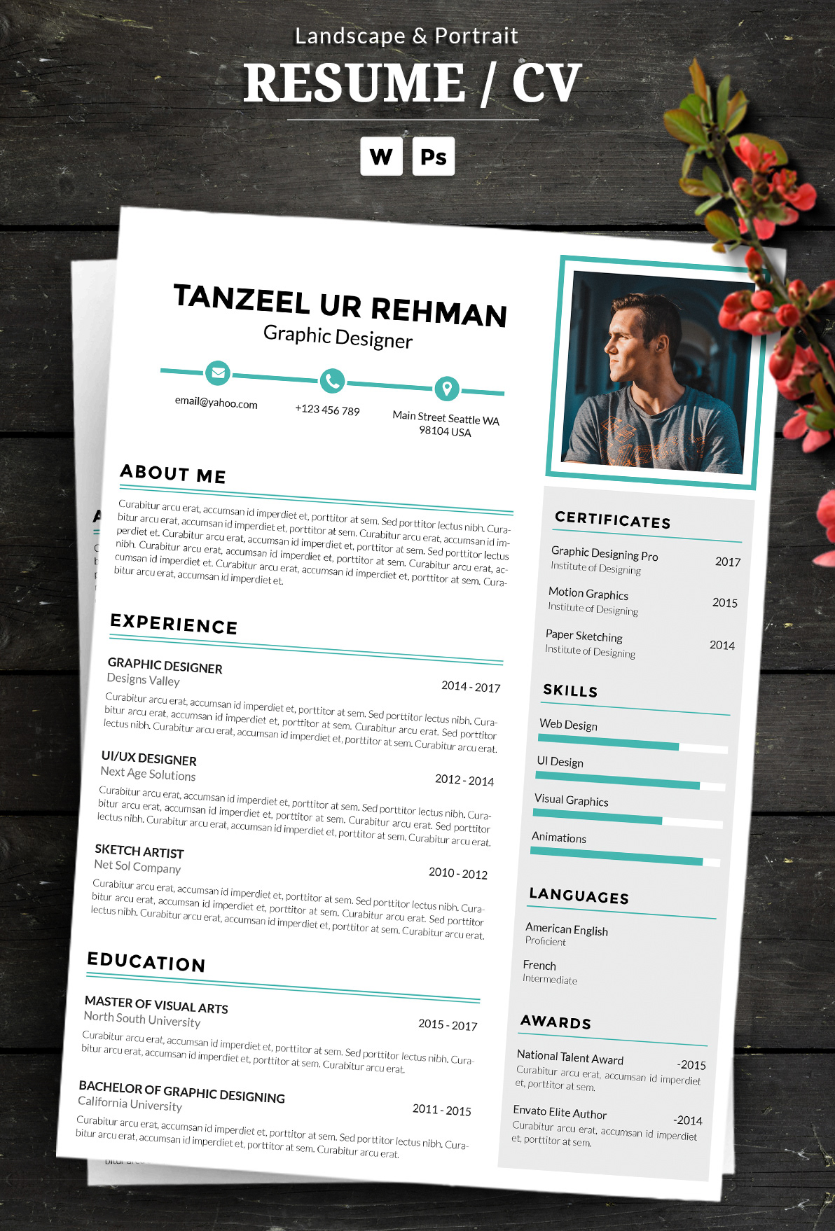 CV,Resume,photoshop,adobe,editable,word,ms word,free,download,cover letter