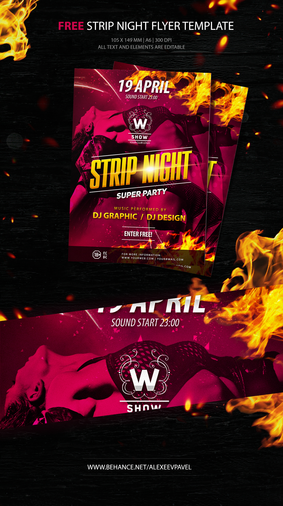 Strip night - free flyer template PSD