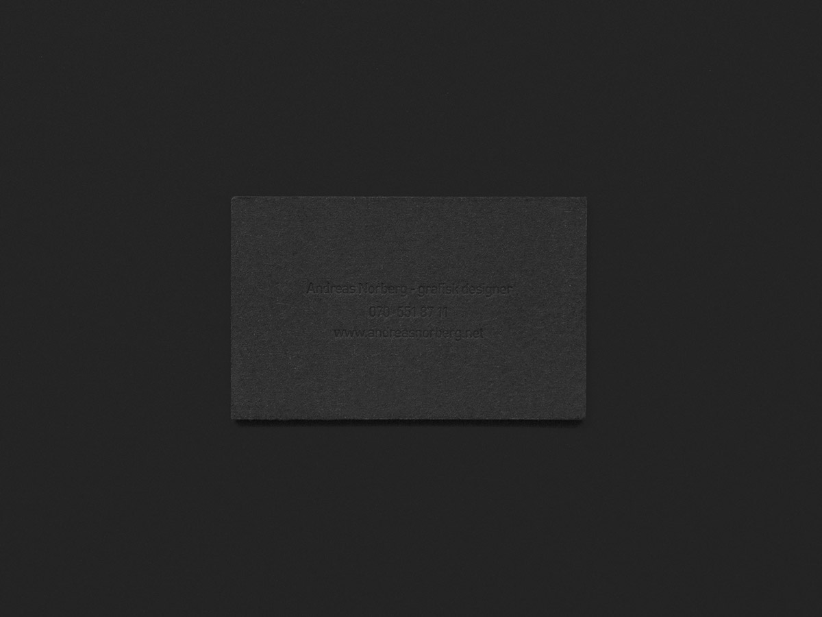 Blind embossed business card on Behance