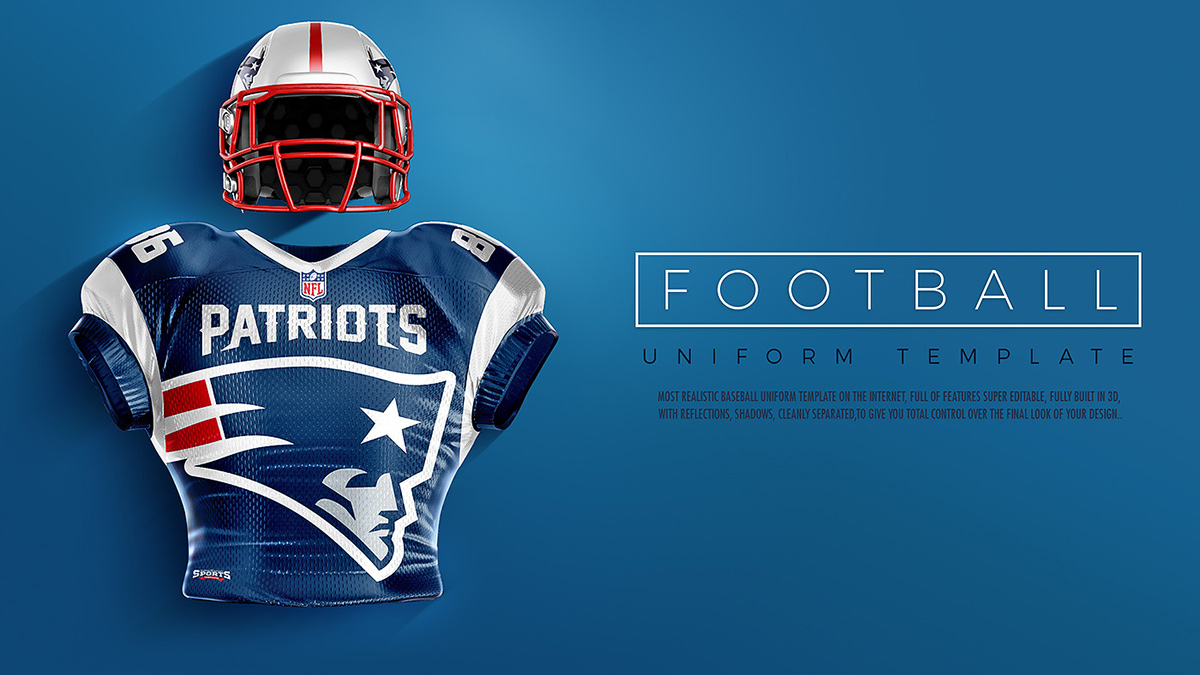 touchdown football uniform mockup on pantone canvas gallery