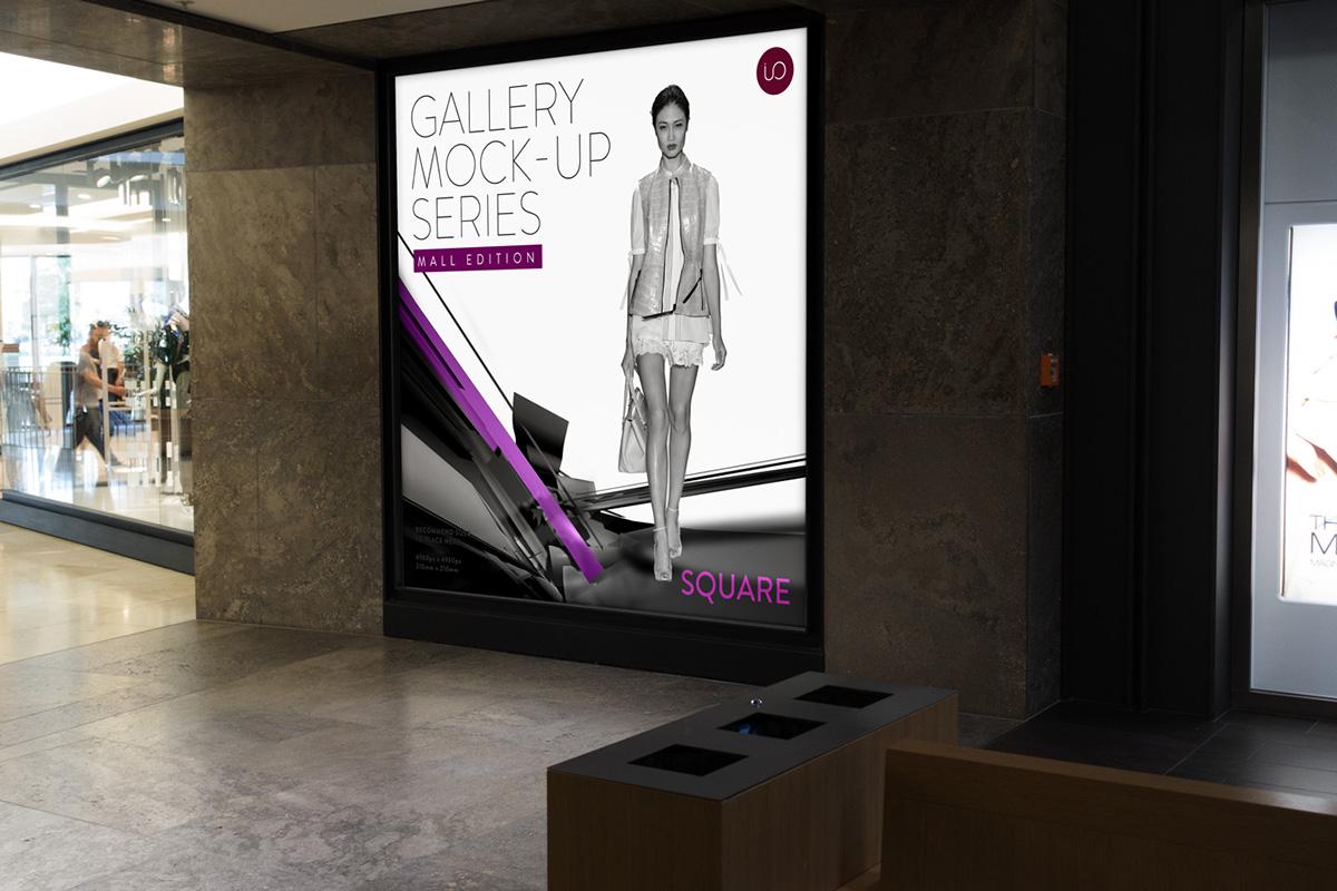 photorealistic screen mock-up pixel screen poster Poster Mockup premium product mockup realistic realistic mockup shopping mall showcase wall mockup free freebie