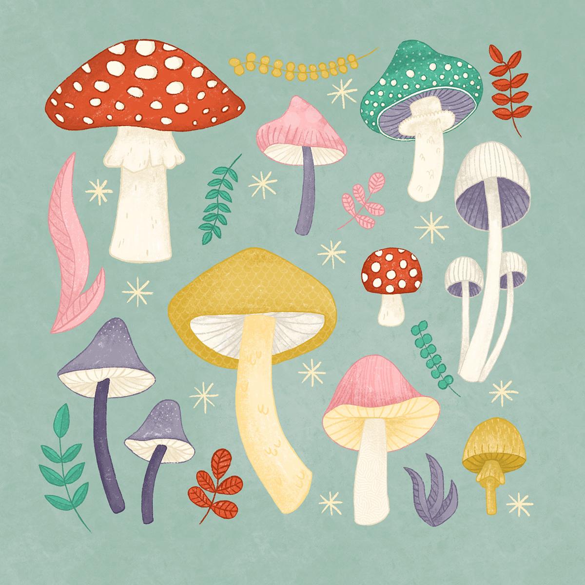 cottagecore cute fairy ILLUSTRATION  Magical Mushrooms Nature pastel toadstools vintage