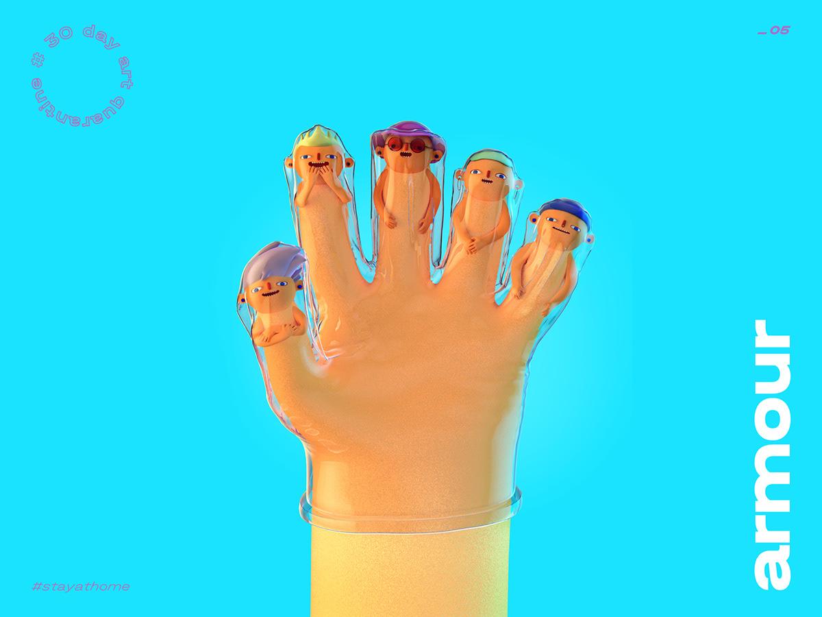 3d illustration cartoon gloves