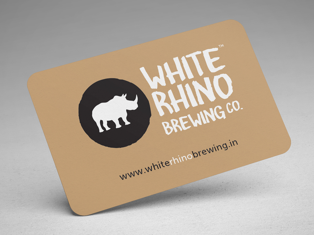 White rhino brewing co brand identity on behance keeping the rustic yet refined theme in mind we opted for gloss black and matte white screen printed business cards on brown kraft paper and minimalist magicingreecefo Image collections