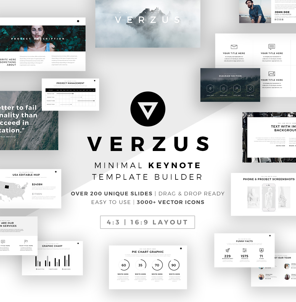verzus minimal keynote template builder on behance. Black Bedroom Furniture Sets. Home Design Ideas