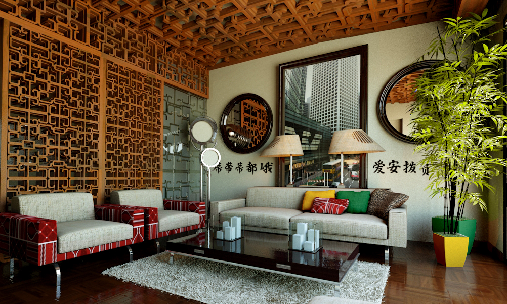 modern chinese living room on Behance