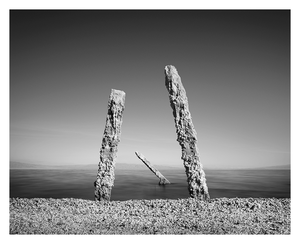 seascape Landscape symmetry color monochrome black and white salton sea Minimalism decay