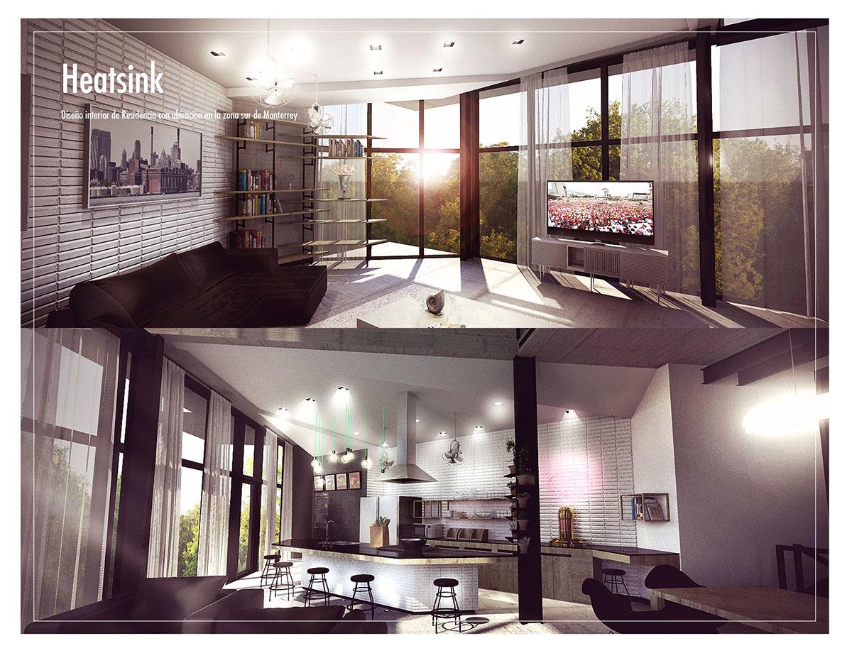 Interiorismo design Style industrial Residencial home kitchen contemporary diseño proyecto Project heatsink