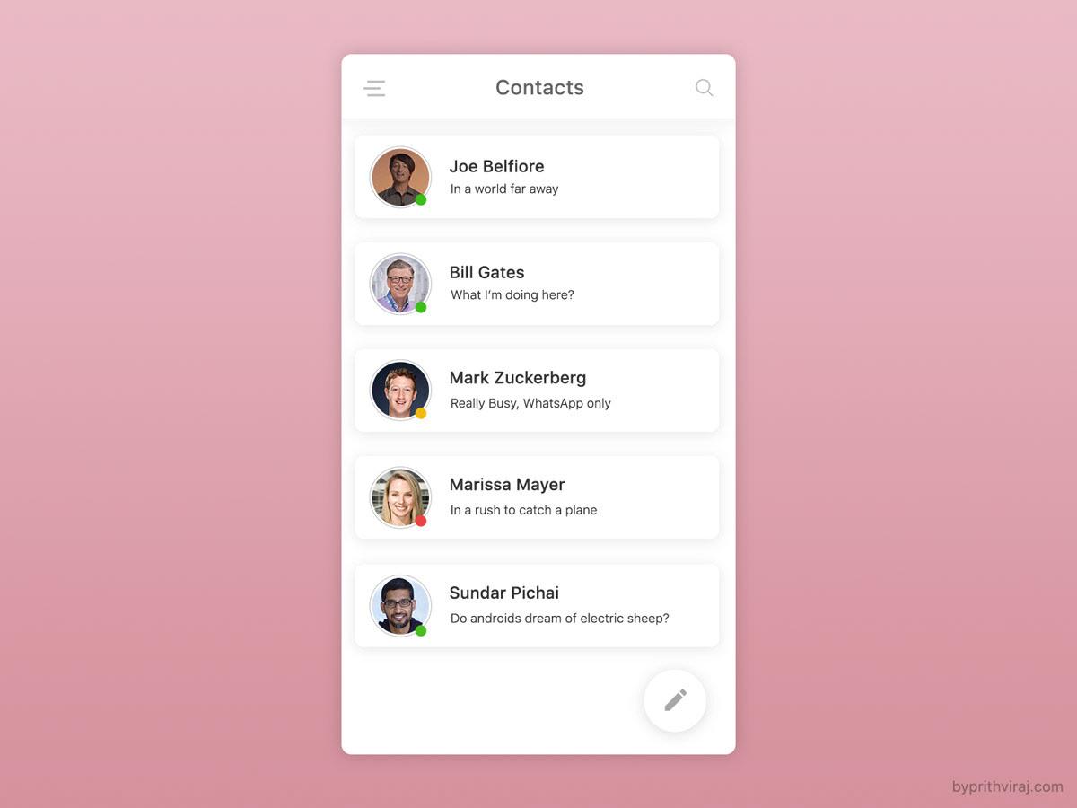 ui design ui ux contact list ui friend list UI contact ui card design wireframe Mobile UI concept ui