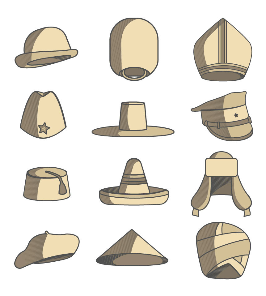 Icon Set  Hats Around the World on Behance 43152d78dfd