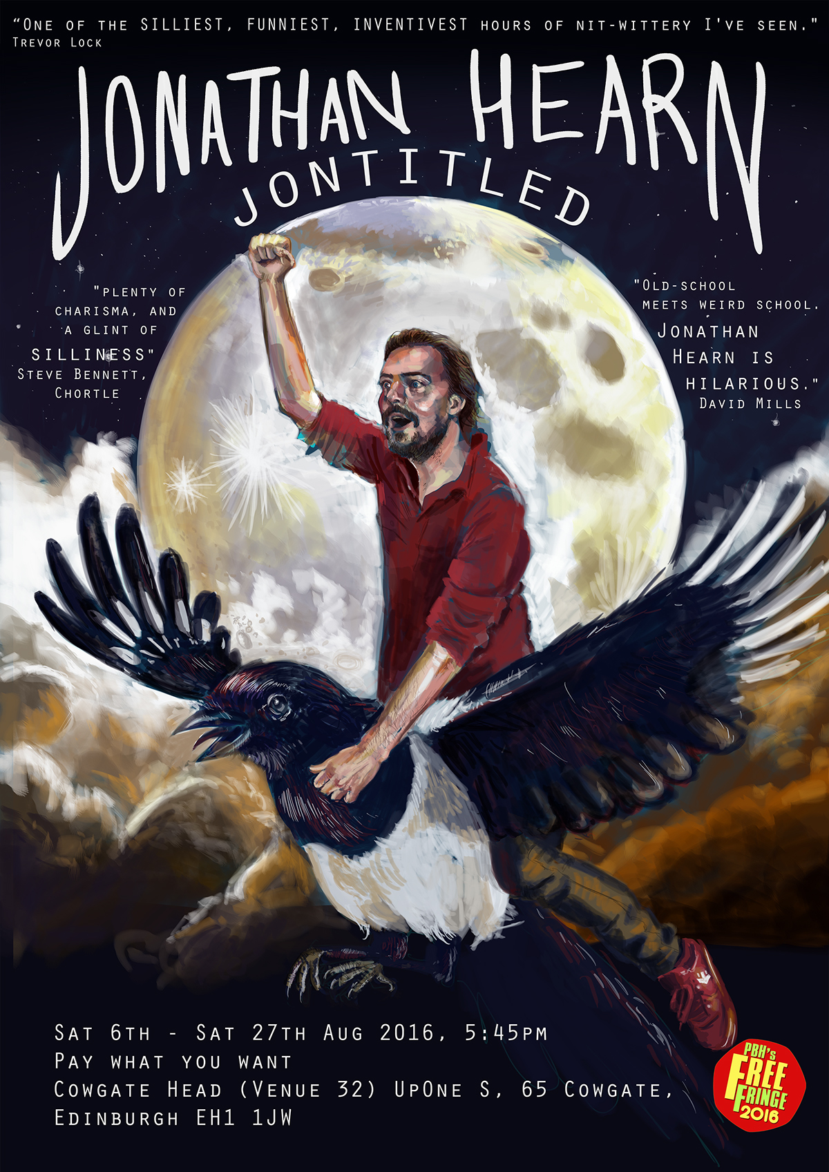 portrait poster Poster Design comedy  magpie man moon digital digital painting Flying