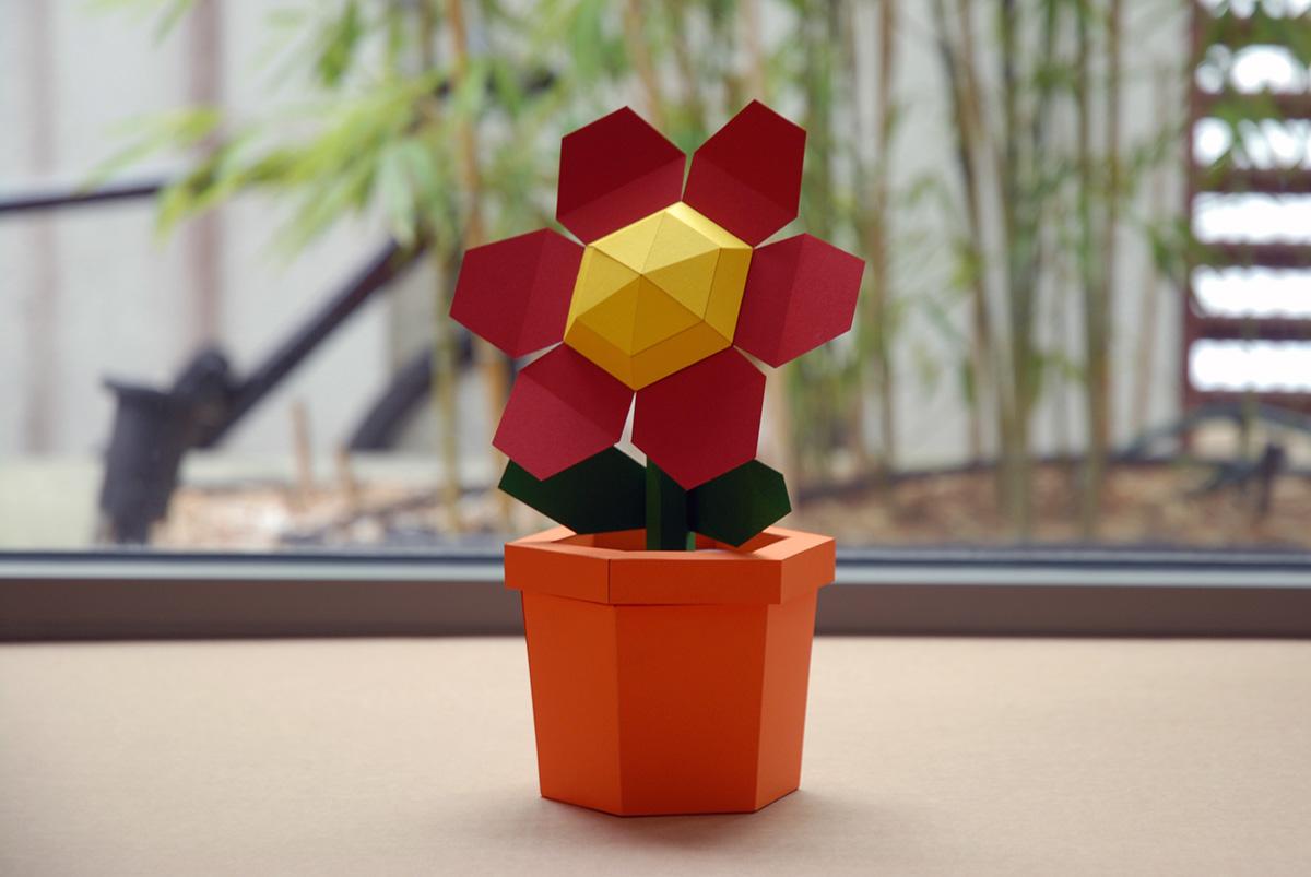 Pot Flower Red Diy Papercraft Kit On Behance
