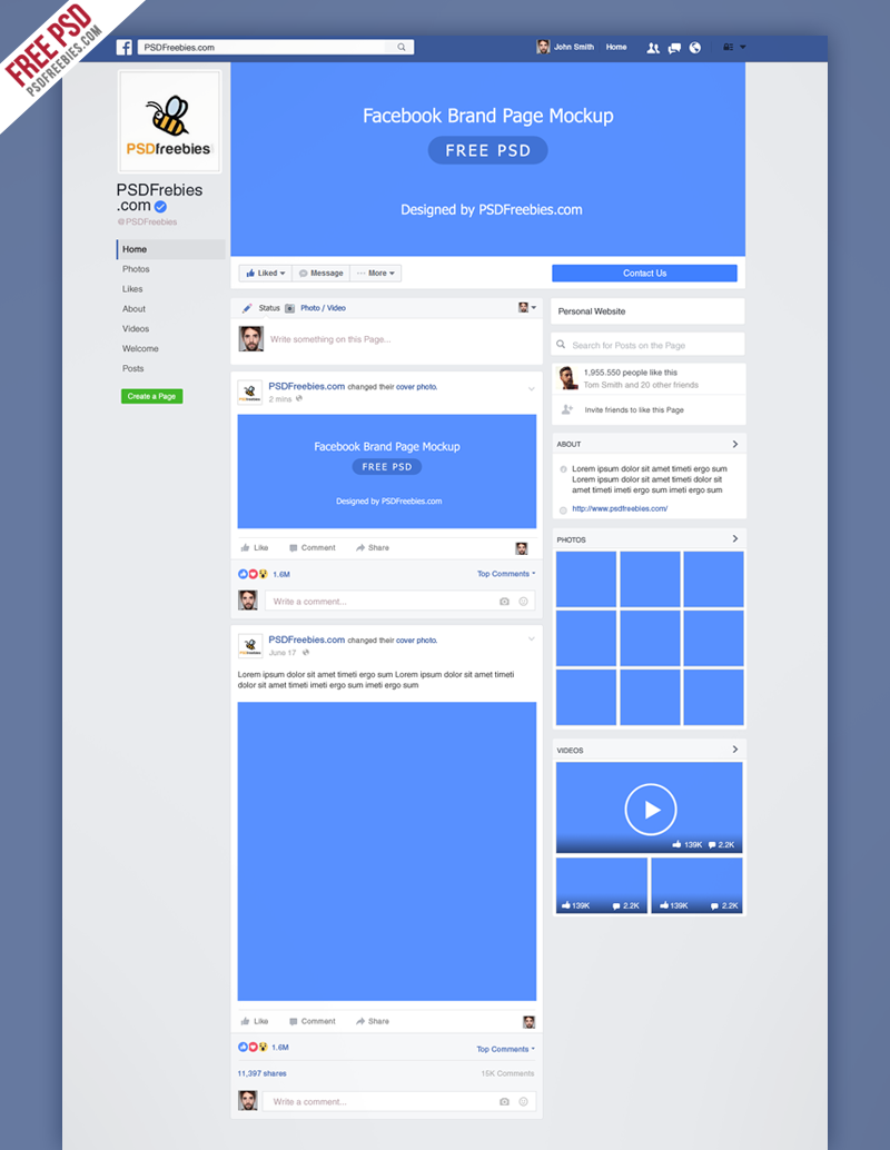 facebook mockup fanpage 2016 free template on behance