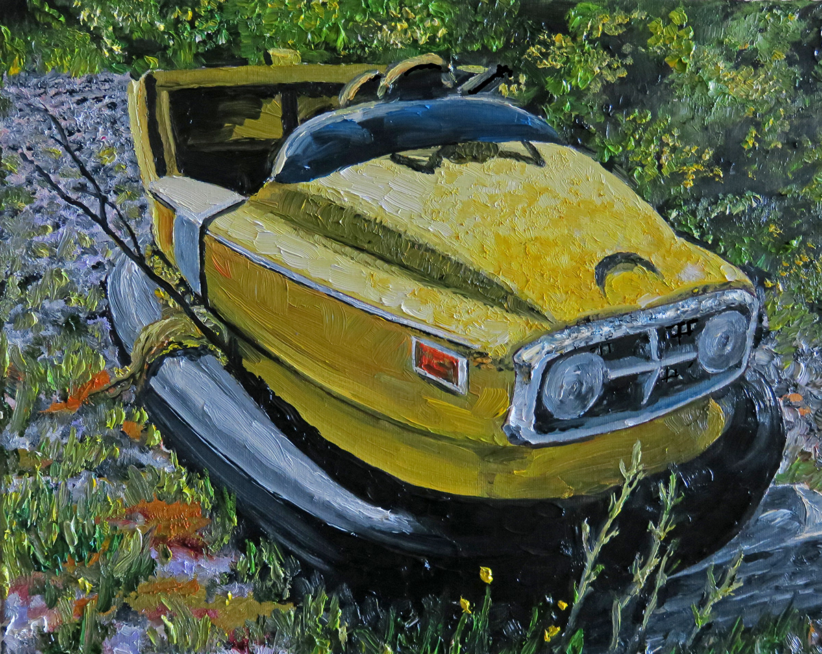 Oil Painting Gary Indiana Cars animals dogs