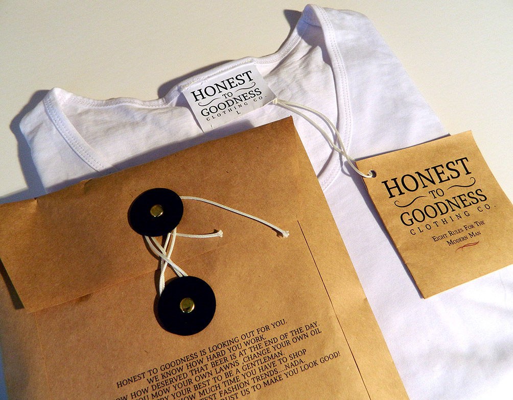 honest to goodness clothing packaging on behance