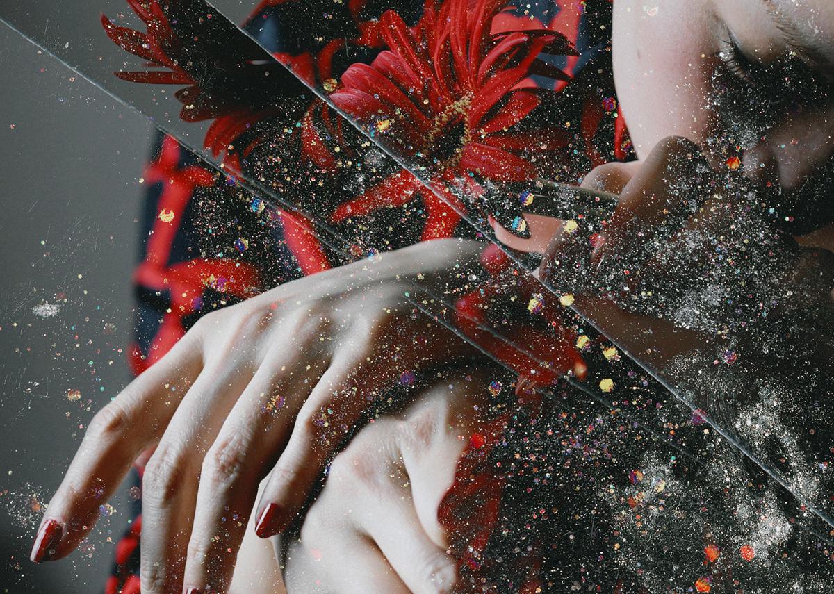 portrait Flowers red eye dust Glitter self portrait dark face night perfume