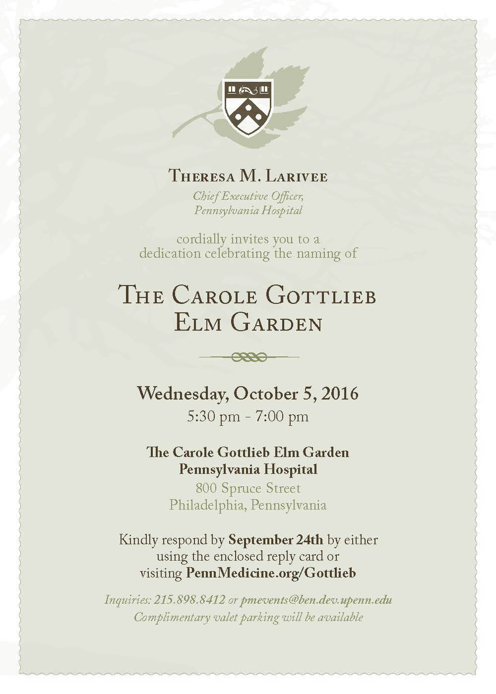 Penn Medicine Gottlieb Invitation and Email Graphic on Behance