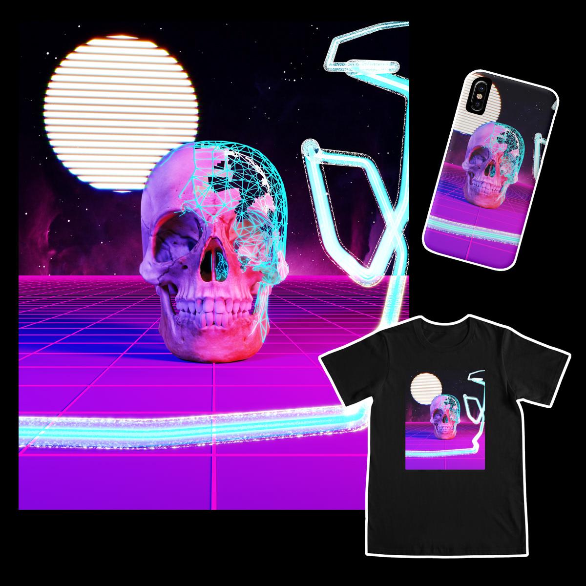 3D abstract blender Cyberpunk Digital Art  Render Retro sci-fi Synthwave vaporwave