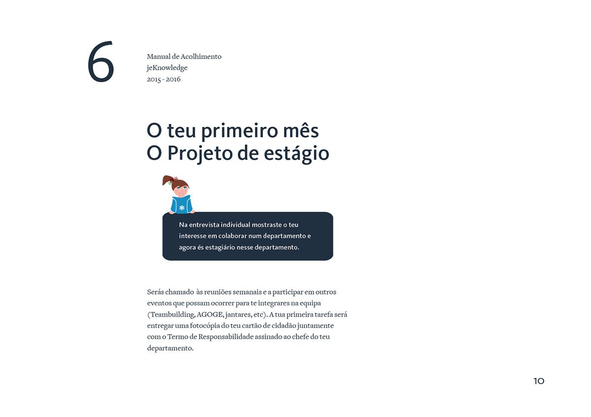 jeKnowledge nurturing excellence manual de acolhimento blue Onboarding Guide junior enterprise Coimbra Portugal photoshop InDesign Illustrator