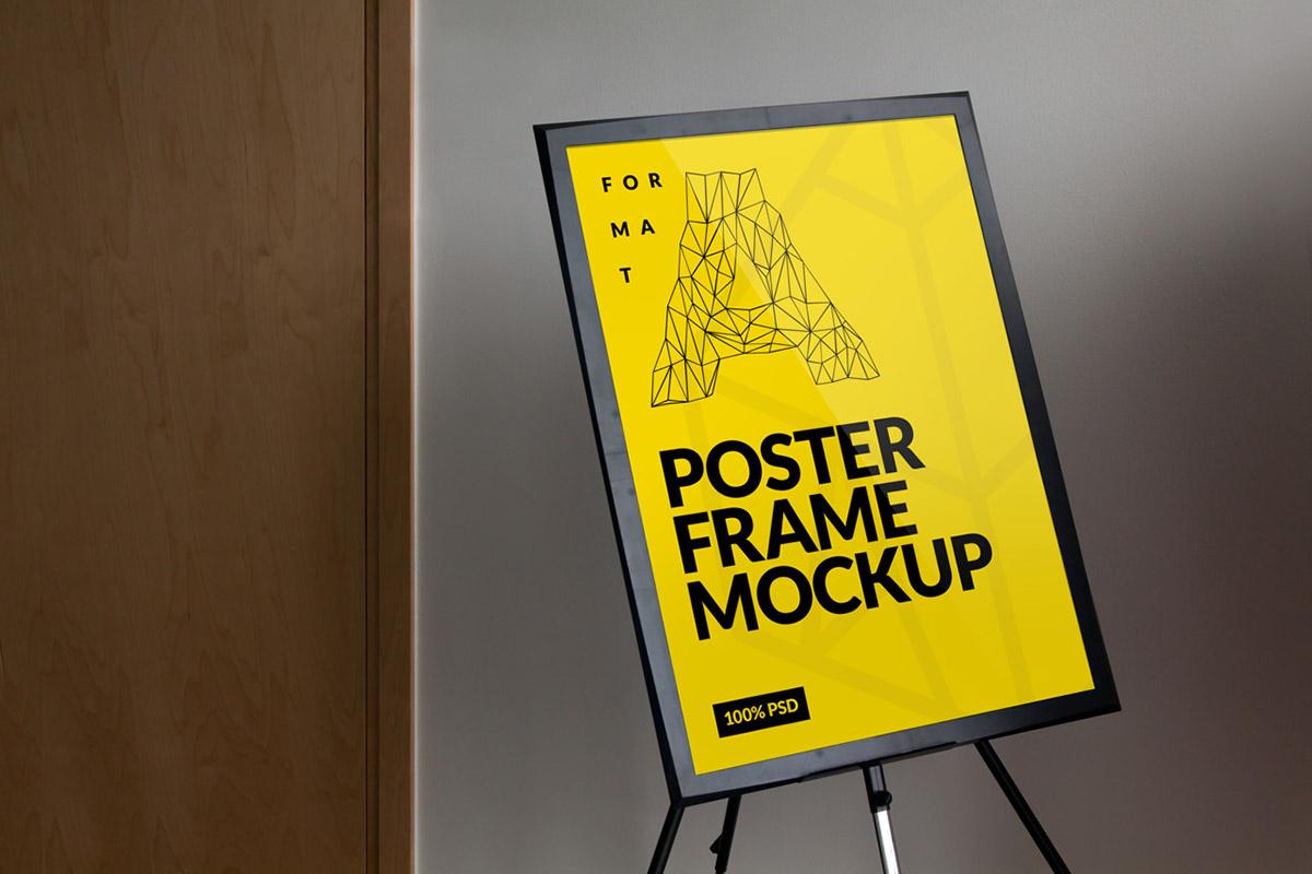 Mockup poster frame easel print design showcase Picture presentation Stand Exhibition  mock-up