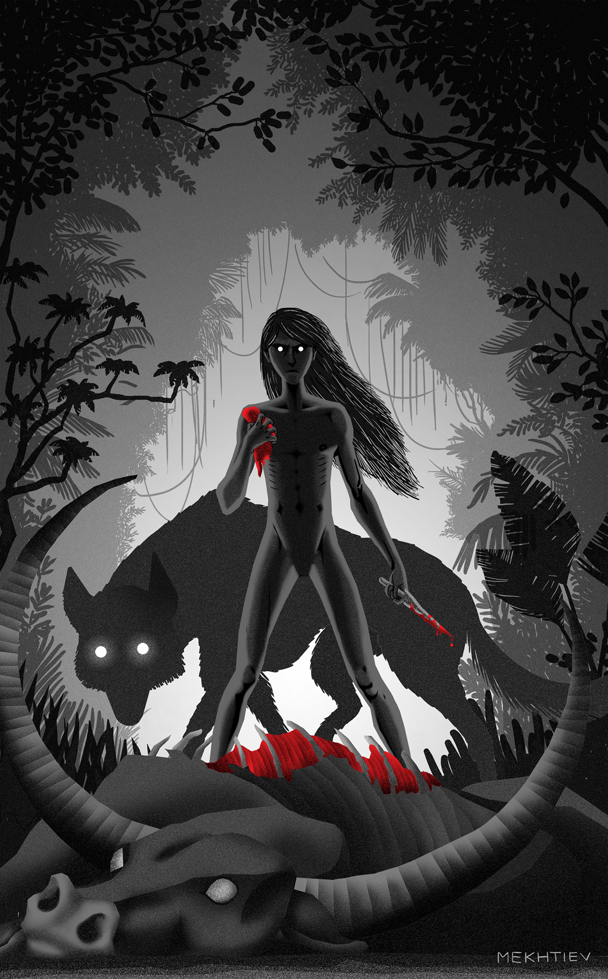 mowgli Akela plants jungle book dark black White wild kipling