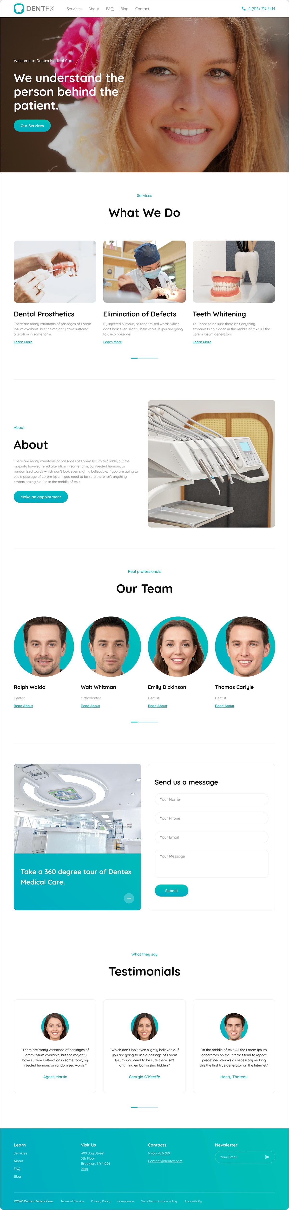 clean clinic dental dentist doctor Health landing page medical Medical Website modern