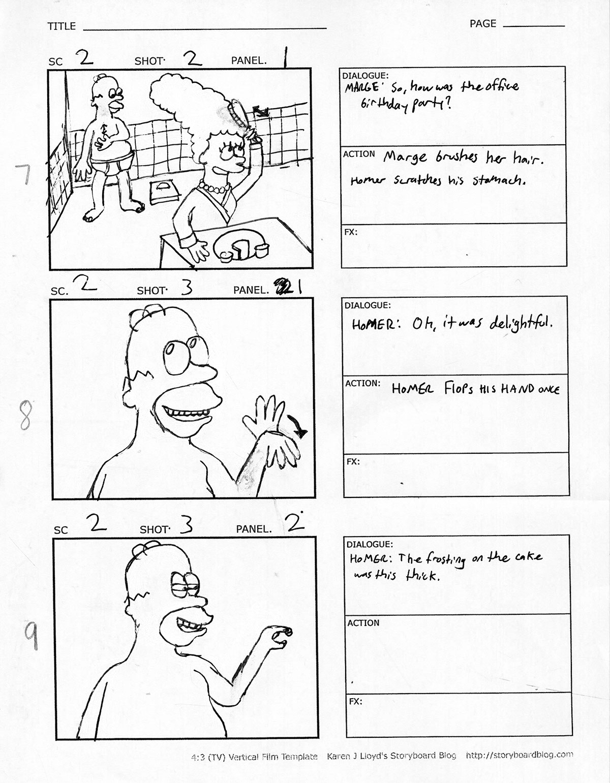 simpsons storyboard on scad portfolios